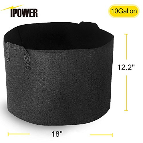 iPower 10-Pack 10-Gallon Grow Bags Nonwoven Fabric Pots