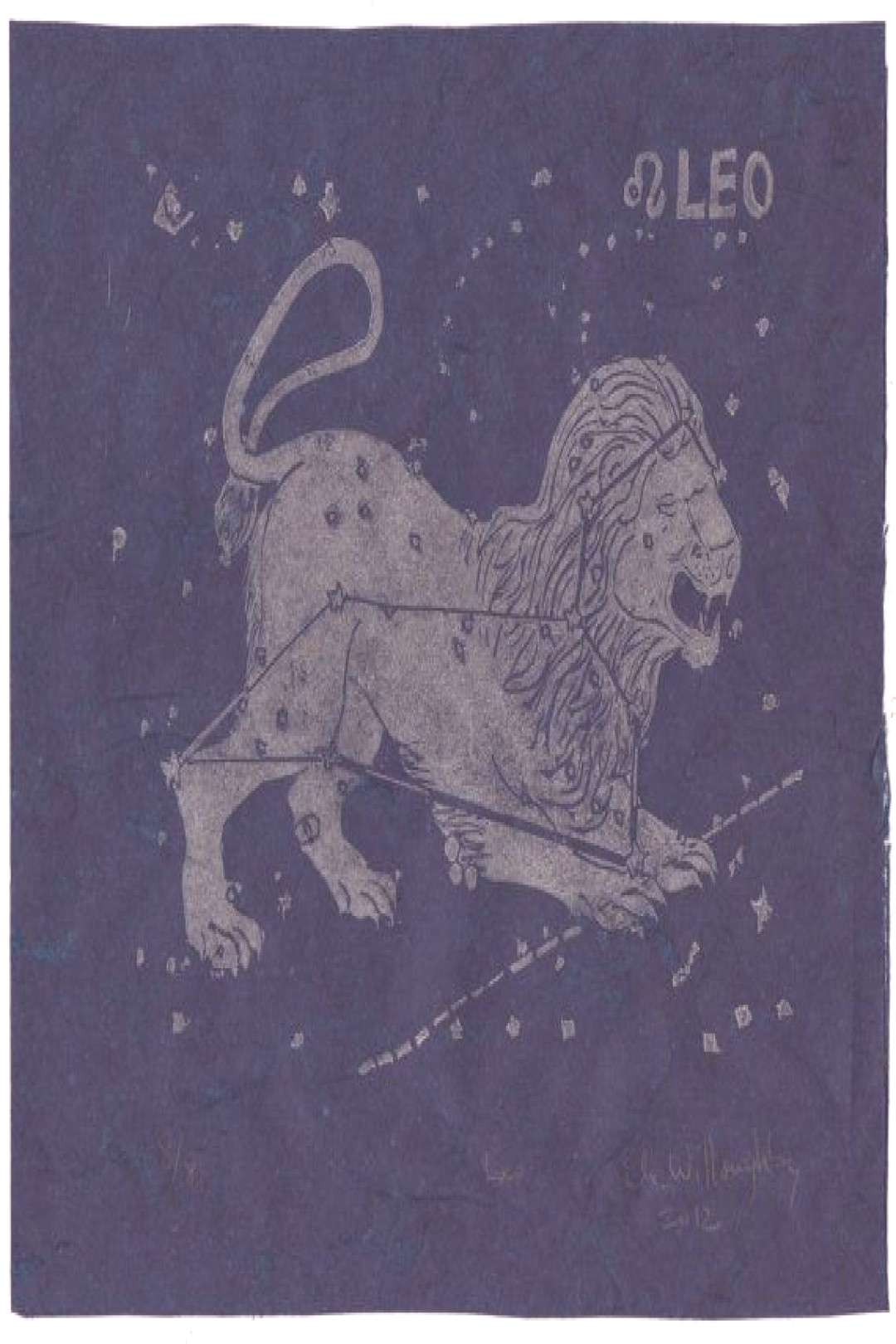 Leo Constellation Print, Constellations of the Zodiac Print Collection, Leo the Lion Print , ... Le