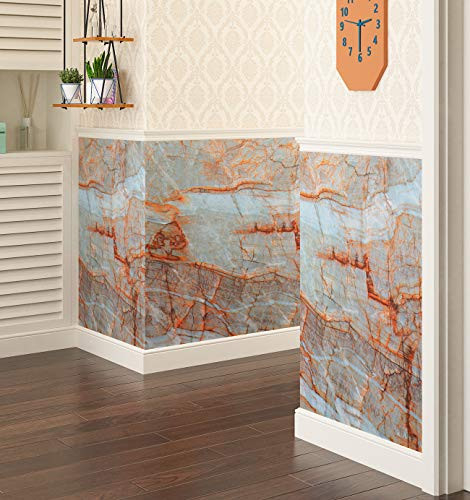 Livelynine 15.8quotX197quot Teal Marble Wallpaper Peel and Stick