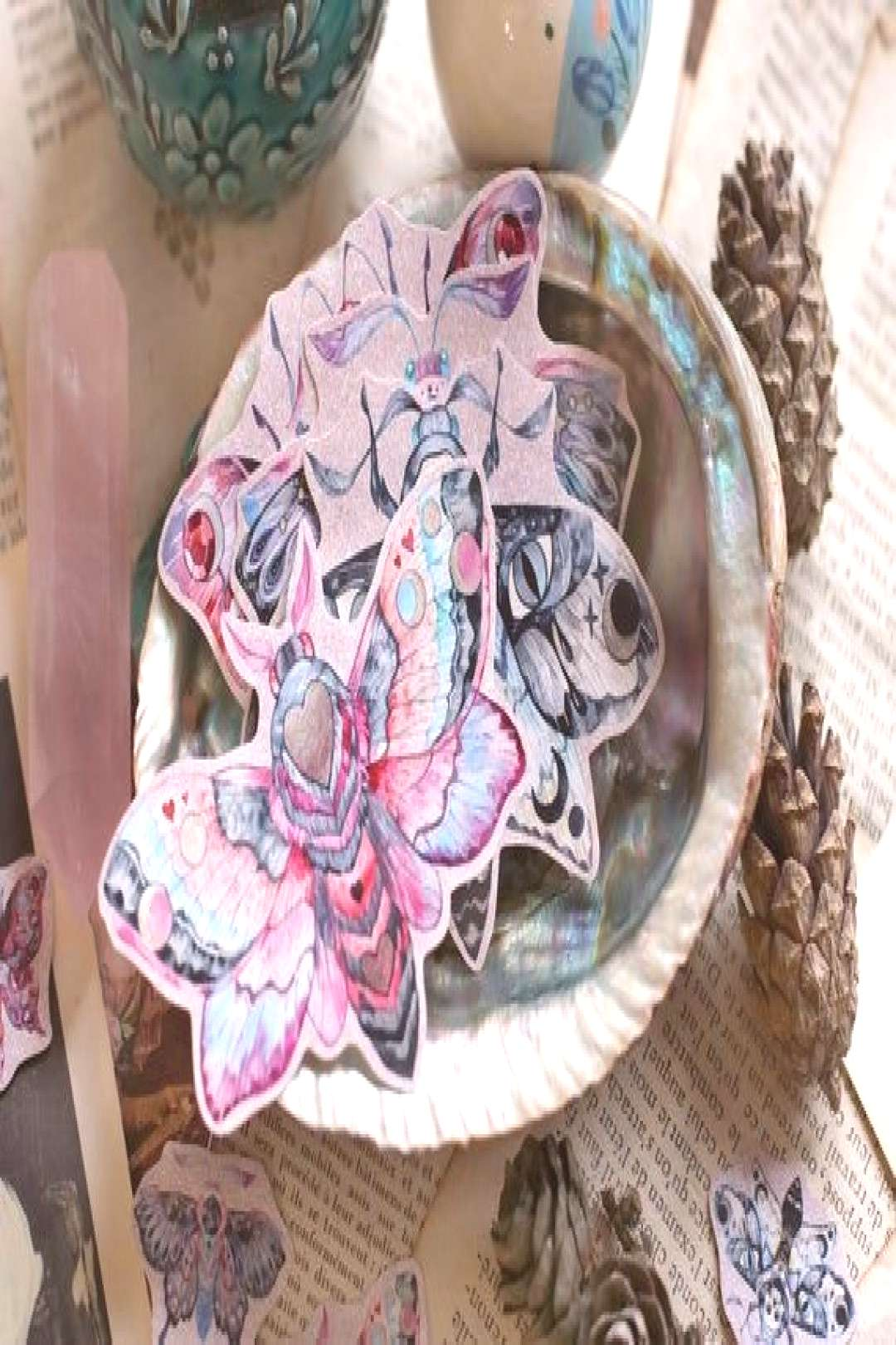 Magical moth sticker pack, Goth aesthetic sticker set. Moon constellations butte... - Magical moth