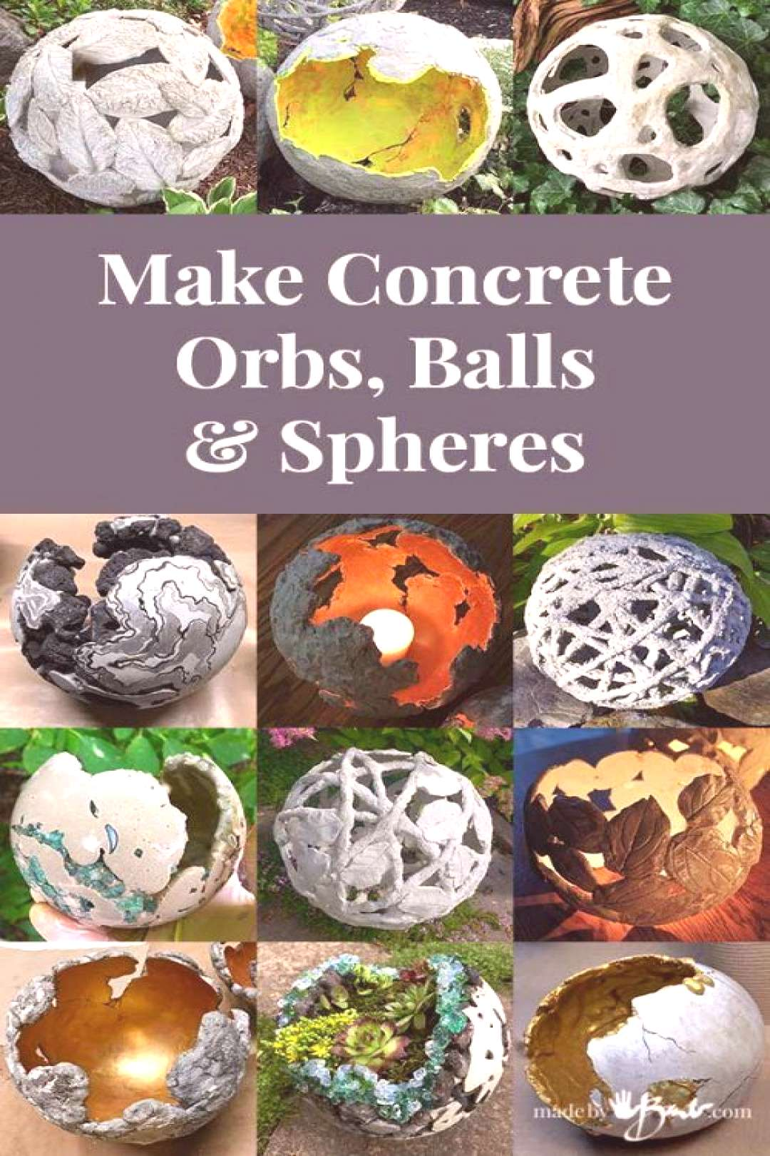 Make Concrete Orbs, Balls amp Spheres - Made By Barb - many tutorials