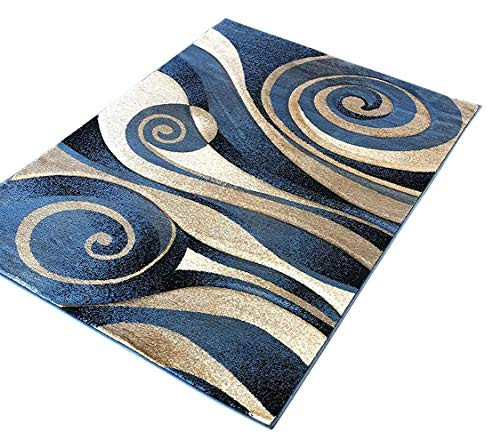 Modern Area Rug Contemporary Abstract Light Blue Beige Black