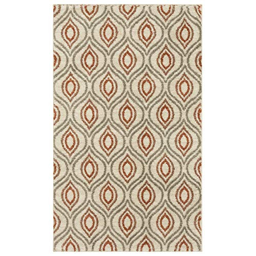 Mohawk Home Laguna Ogee Waters Coral Geometric Contemporary