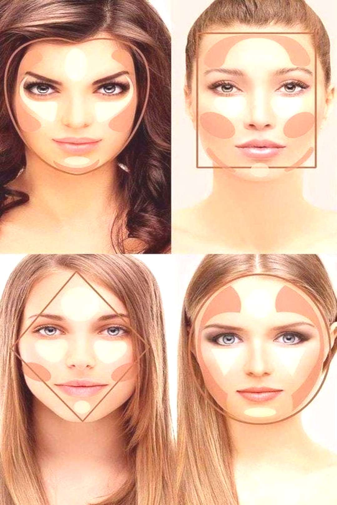 Money and Makeup Quick contour and highlighting chart for different facial shapes.