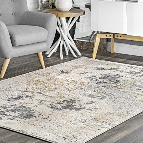nuLOOM Abstract Contemporary Motto Area Rug, 5 x 8 Oval,
