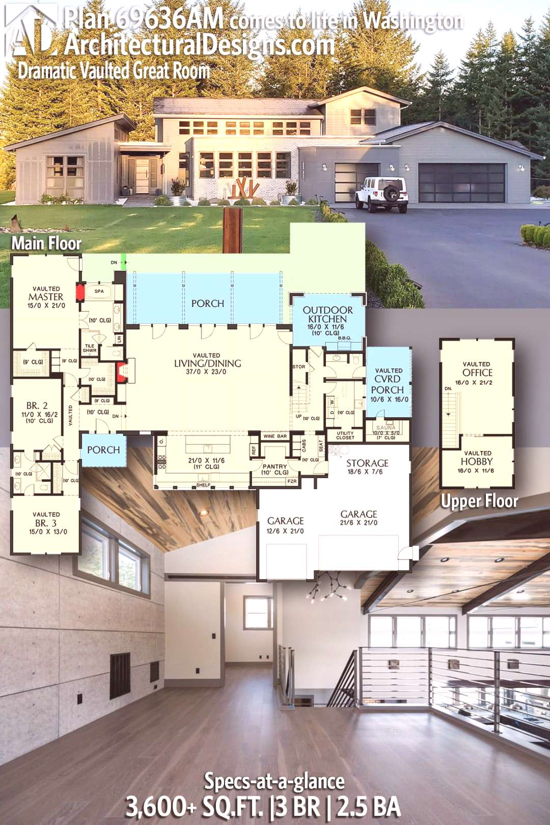 Plan 69636AM Dramatic Contemporary House Plan with Vaulted Great Room Modern House Plan 69636AM gi