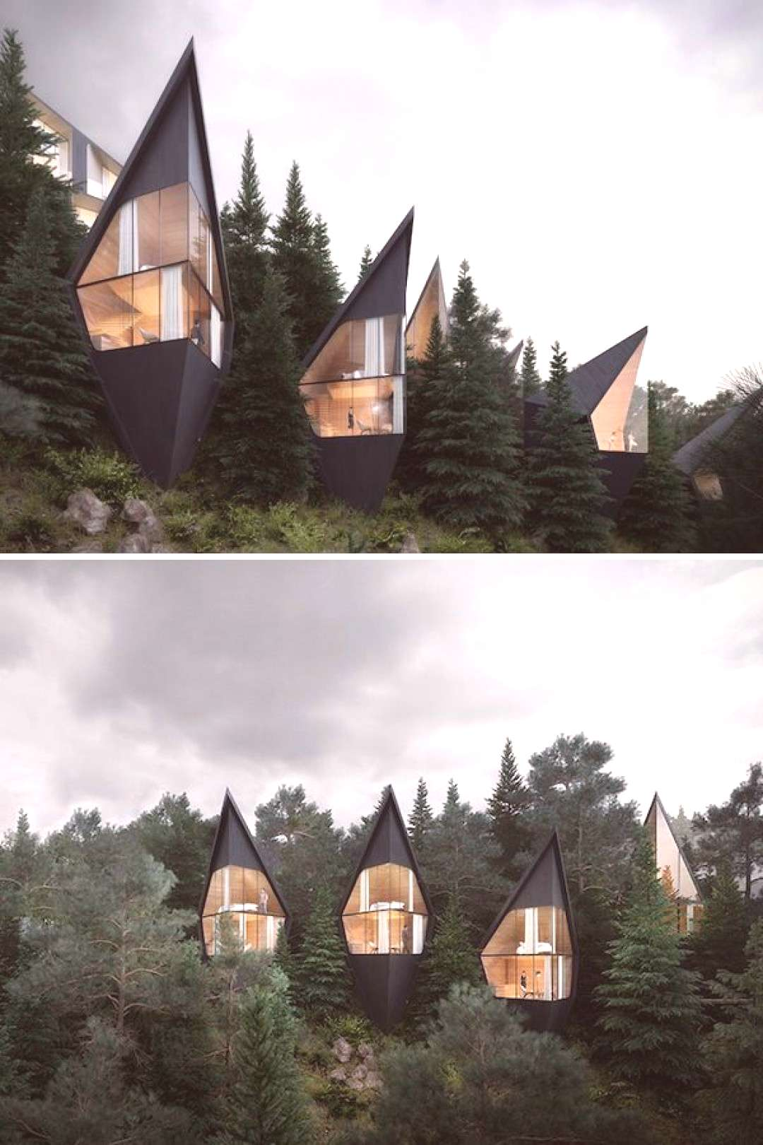 Prism shaped treehouses