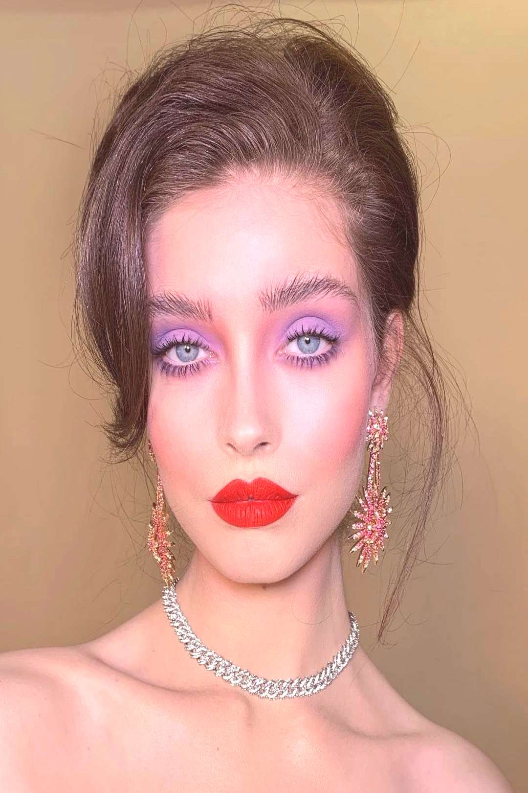 Purple eyes, red chilli lips and pink contouring on beautiful hair by | Dam ... -  Purple eyes, red
