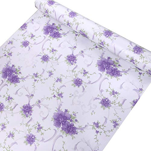 Purple Floral Contact Paper Self Adhesive Shelf Liner