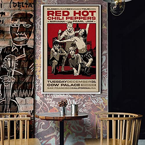 Red Hot Chili Peppers 1991 Concert Poster Poster Decorative