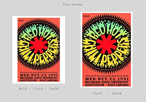 Red Hot Chili Peppers 1991 Concert Poster Print by delovely