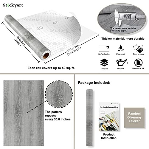 Stickyart 36quotx160quot Grey Wood Contact Paper Distressed Wood