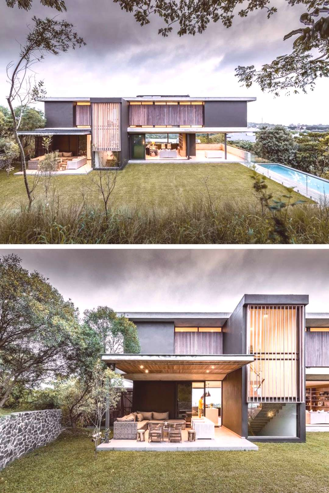 The house seeks to seamlessly blend indoor and outdoor living, and was designed to take advantage o