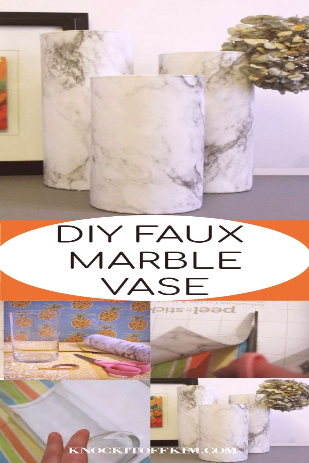Update a simple glass vase to a marble vase and get the look for less! || Faux Marble | Contact pap
