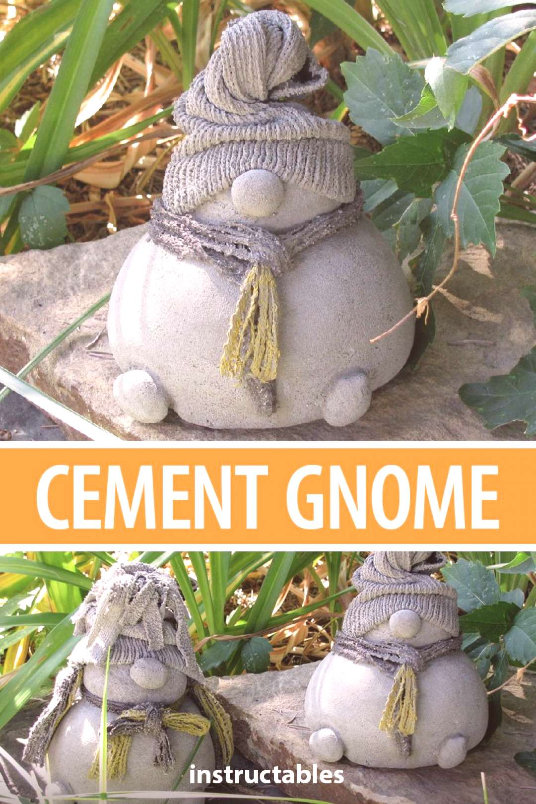 Using socks as a mold for cement you can make a whole family of short and stout garden gnomes.