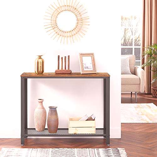 VASAGLE Console Table, Sofa Table, Metal Frame, Easy