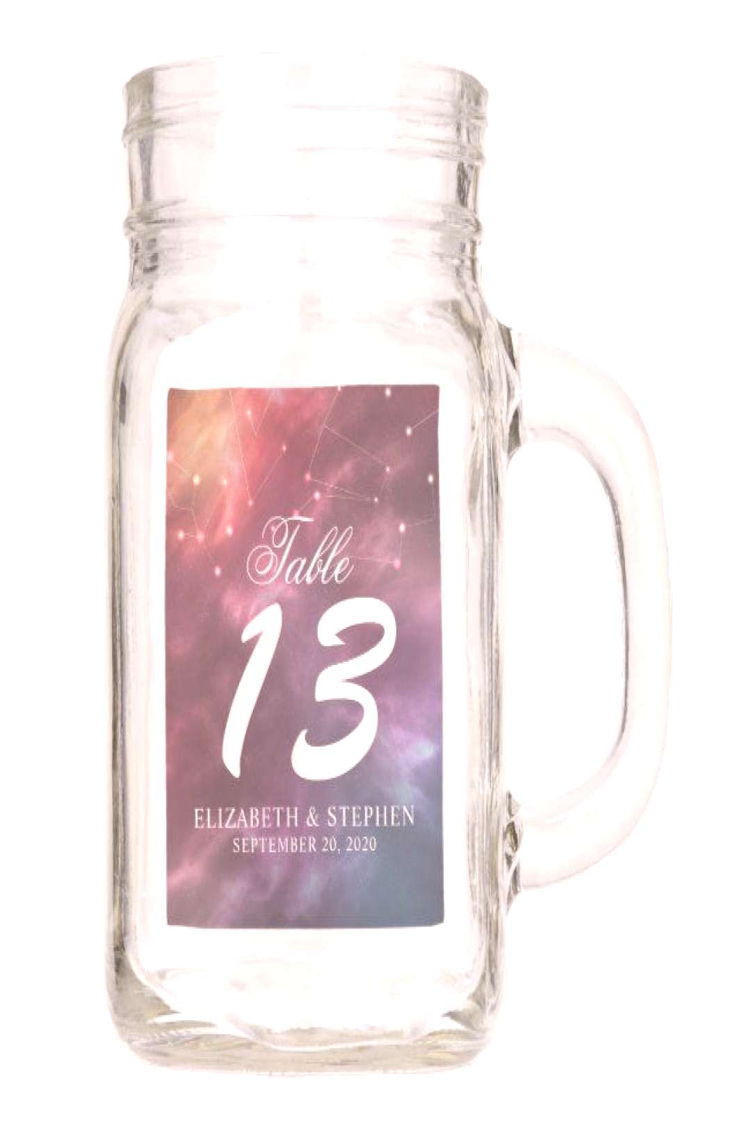 Wedding Table Number Galaxy Nebula Constellations Mason Jar ,