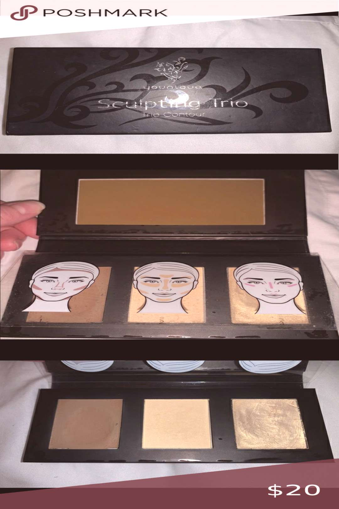 Younique Sculpting Trio Gently used sculpting trio for contouring Kinda rough on...#contouring
