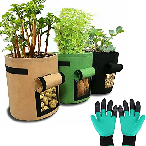 ZIMFANQI 10 Gallon Grow Bags 3 Pack Garden Planting Bag with