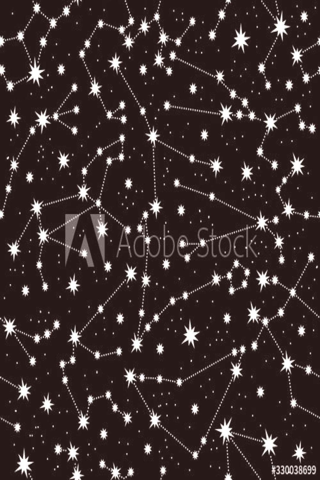 Zodiac constellation seamless pattern. White constellations and stars on a black background. Horosc