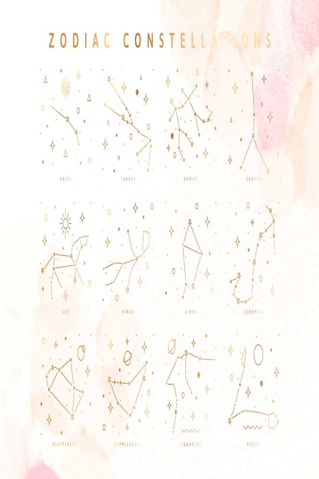 Zodiac signs and constellations by Pixejoo on Creative Market , Zodiac signs and constellations by